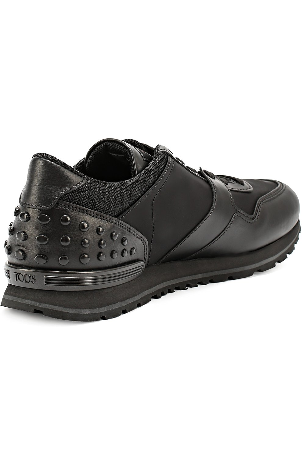Кожаные кроссовки с текстильными вставками и фактурной отделкой Tod's черные | Фото №3