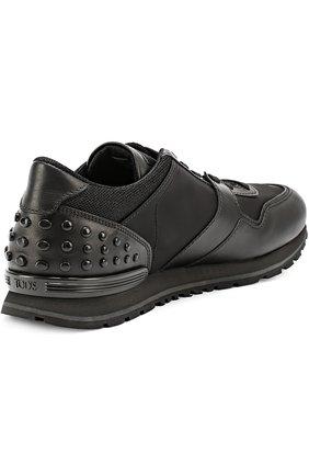 Кожаные кроссовки с текстильными вставками и фактурной отделкой | Фото №3
