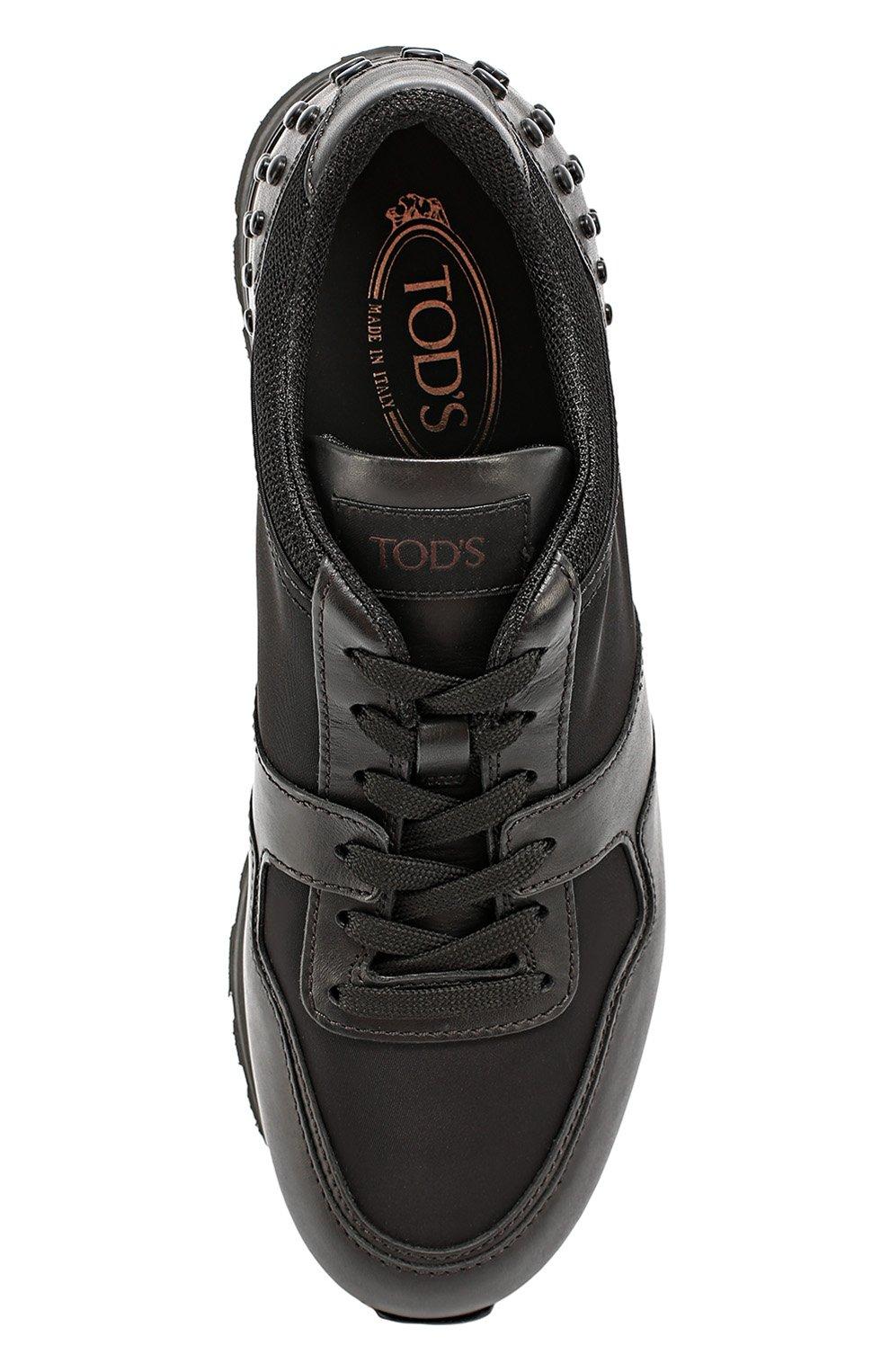 Кожаные кроссовки с текстильными вставками и фактурной отделкой Tod's черные | Фото №4