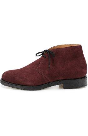 Замшевые ботинки с круглым мысом Church's бордовые   Фото №1