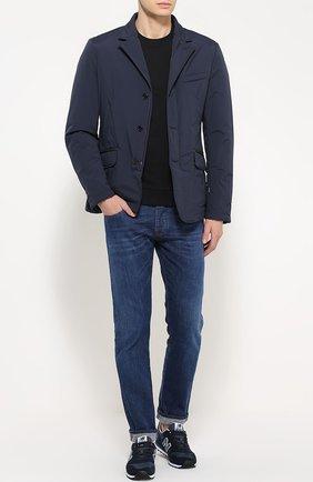 Хлопковый свитшот с логотипом бренда Armani Jeans черный | Фото №1