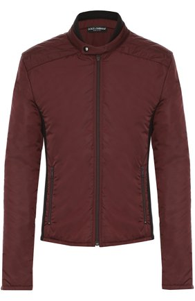 Утепленная куртка на молнии с шерстяными вставками Dolce & Gabbana бордовая | Фото №1