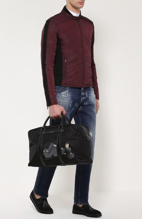 Утепленная куртка на молнии с шерстяными вставками Dolce & Gabbana бордовая | Фото №2