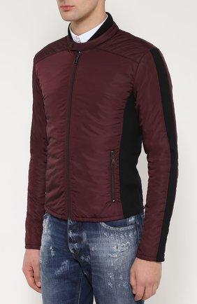 Утепленная куртка на молнии с шерстяными вставками Dolce & Gabbana бордовая | Фото №3
