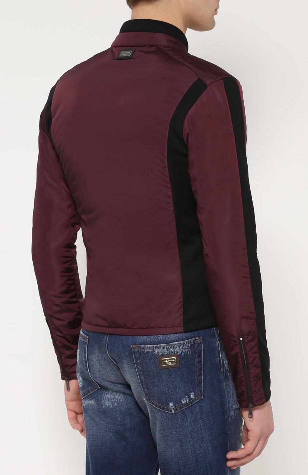 Утепленная куртка на молнии с шерстяными вставками Dolce & Gabbana бордовая | Фото №4