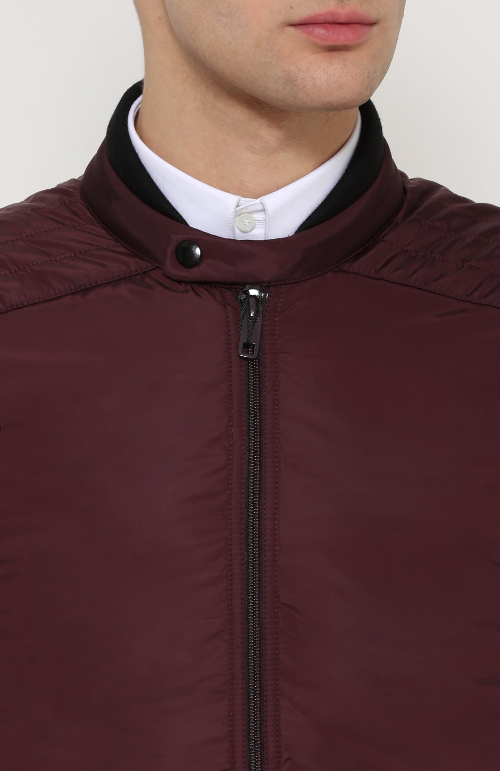 Утепленная куртка на молнии с шерстяными вставками Dolce & Gabbana бордовая | Фото №5