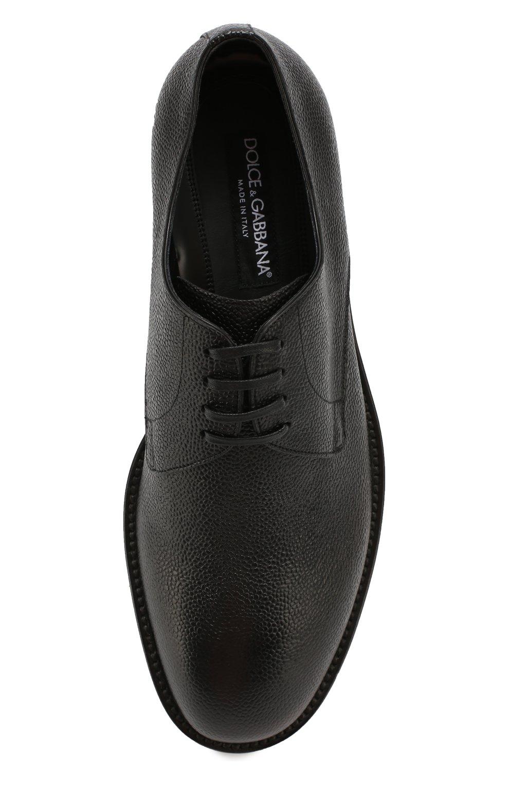 Кожаные дерби Milano с тиснением Dolce & Gabbana черные | Фото №4