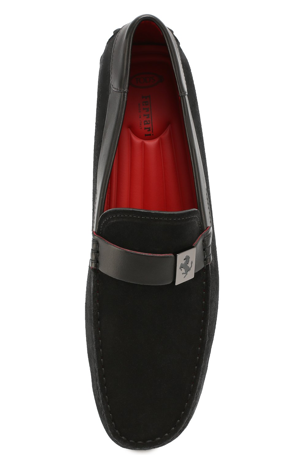 Замшевые мокасины Gommino Ferrari Tod's черные | Фото №4