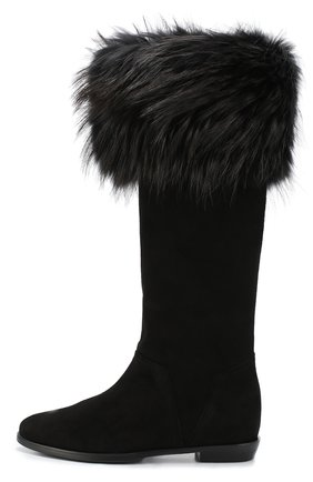 Замшевые сапоги с отделкой мехом Aperlai черные | Фото №1