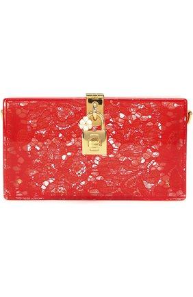 Клатч Dolce Box с кружевом Dolce & Gabbana красного цвета | Фото №1