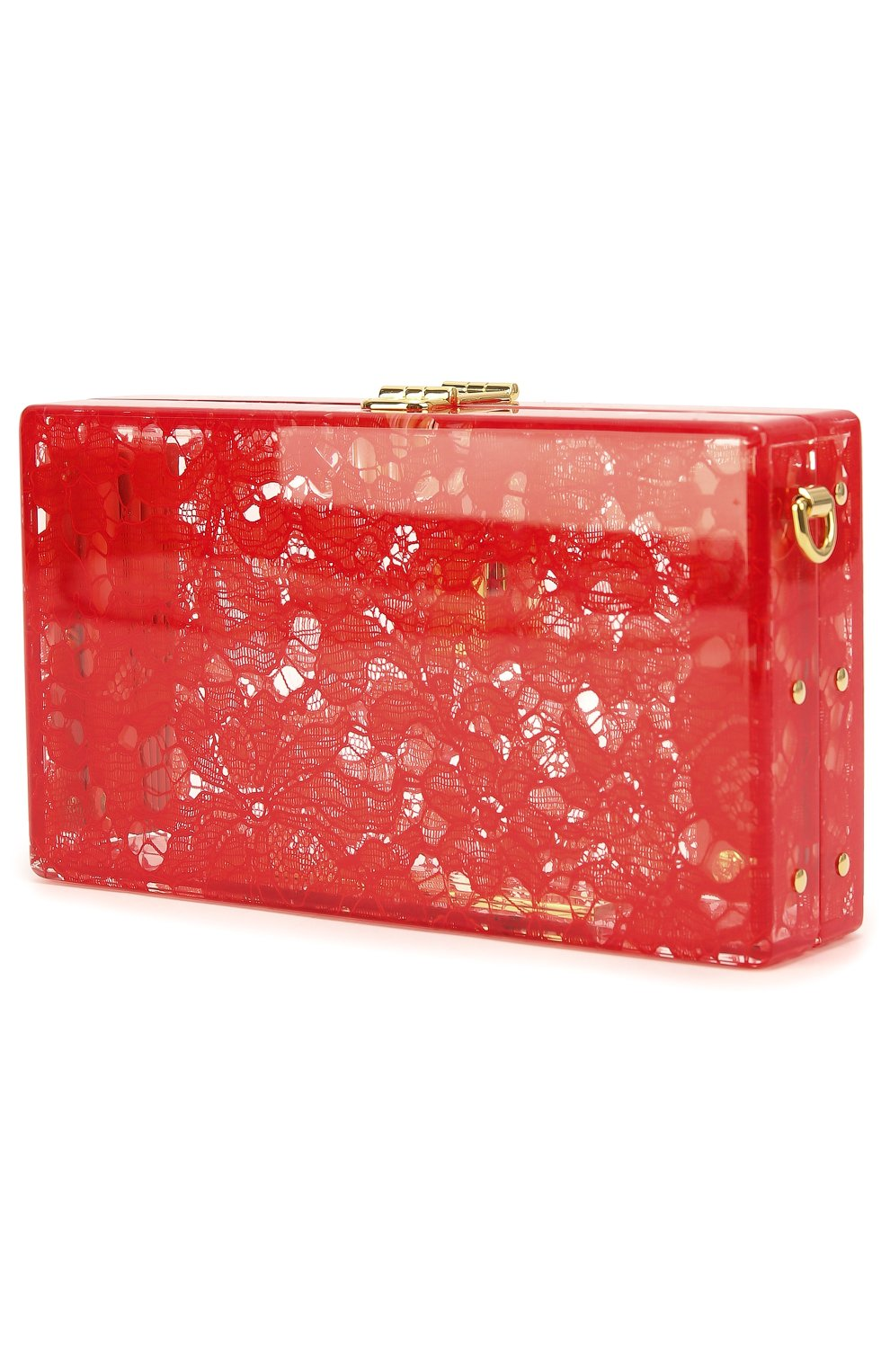 Клатч Dolce Box с кружевом Dolce & Gabbana красного цвета | Фото №3