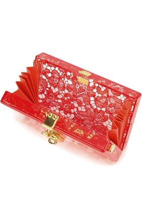 Клатч Dolce Box с кружевом Dolce & Gabbana красного цвета | Фото №4