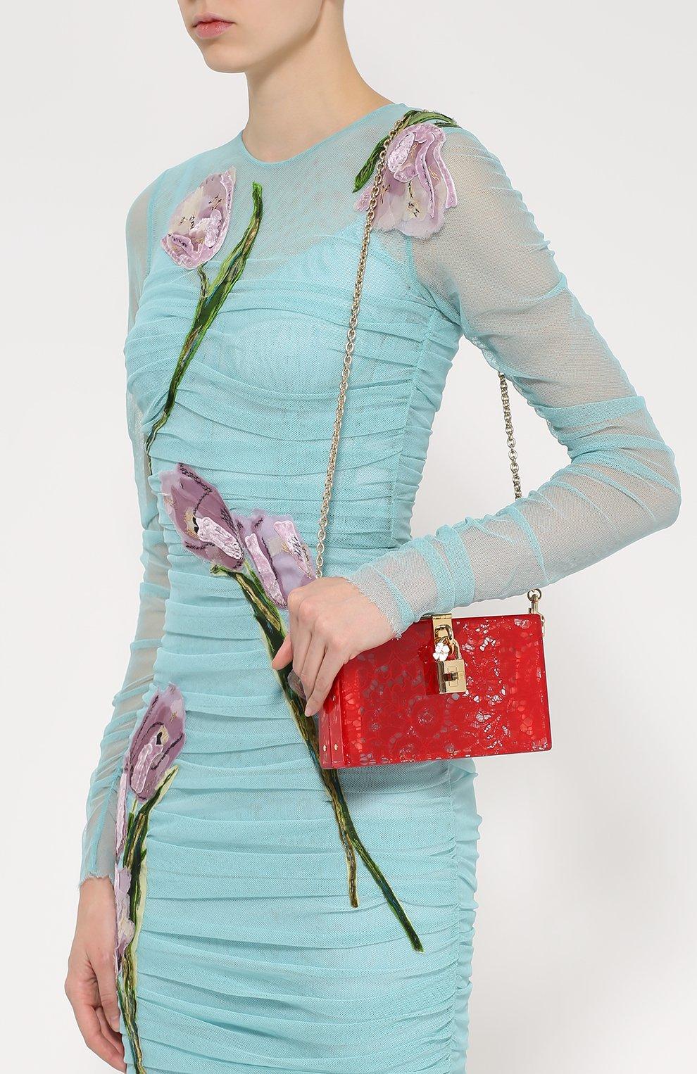 Клатч Dolce Box с кружевом Dolce & Gabbana красного цвета | Фото №5