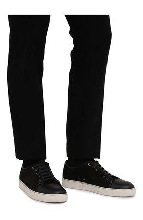 Мужские комбинированные кеды LANVIN черного цвета, арт. FM-SKDBB1-ANAP-P15   Фото 3 (Материал внутренний: Натуральная кожа; Статус проверки: Проверено, Проверена категория; Подошва: Массивная)