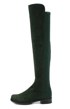 Комбинированные ботфорты на устойчивом каблуке Stuart Weitzman бордовые | Фото №1