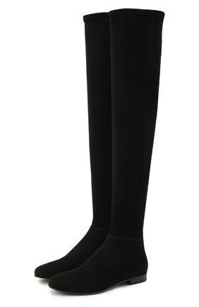 Женские замшевые ботфорты myren на низком каблуке JIMMY CHOO черного цвета, арт. MYREN FLAT/DSD | Фото 1
