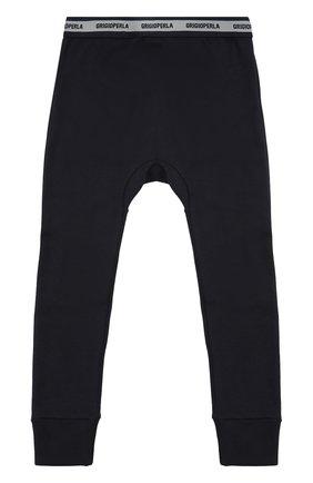 Хлопковые домашние брюки с манжетами Grigioperla синего цвета | Фото №1