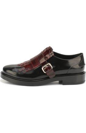 Лаковые ботинки с декором Tod's бордовые   Фото №1