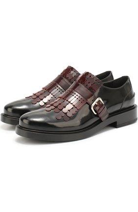 Лаковые ботинки с декором Tod's бордовые   Фото №2