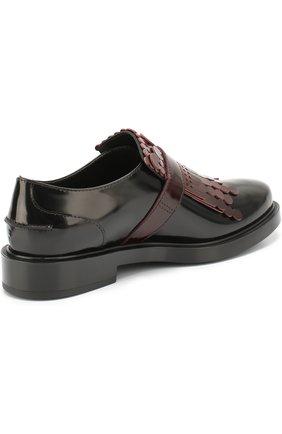 Лаковые ботинки с декором Tod's бордовые   Фото №3
