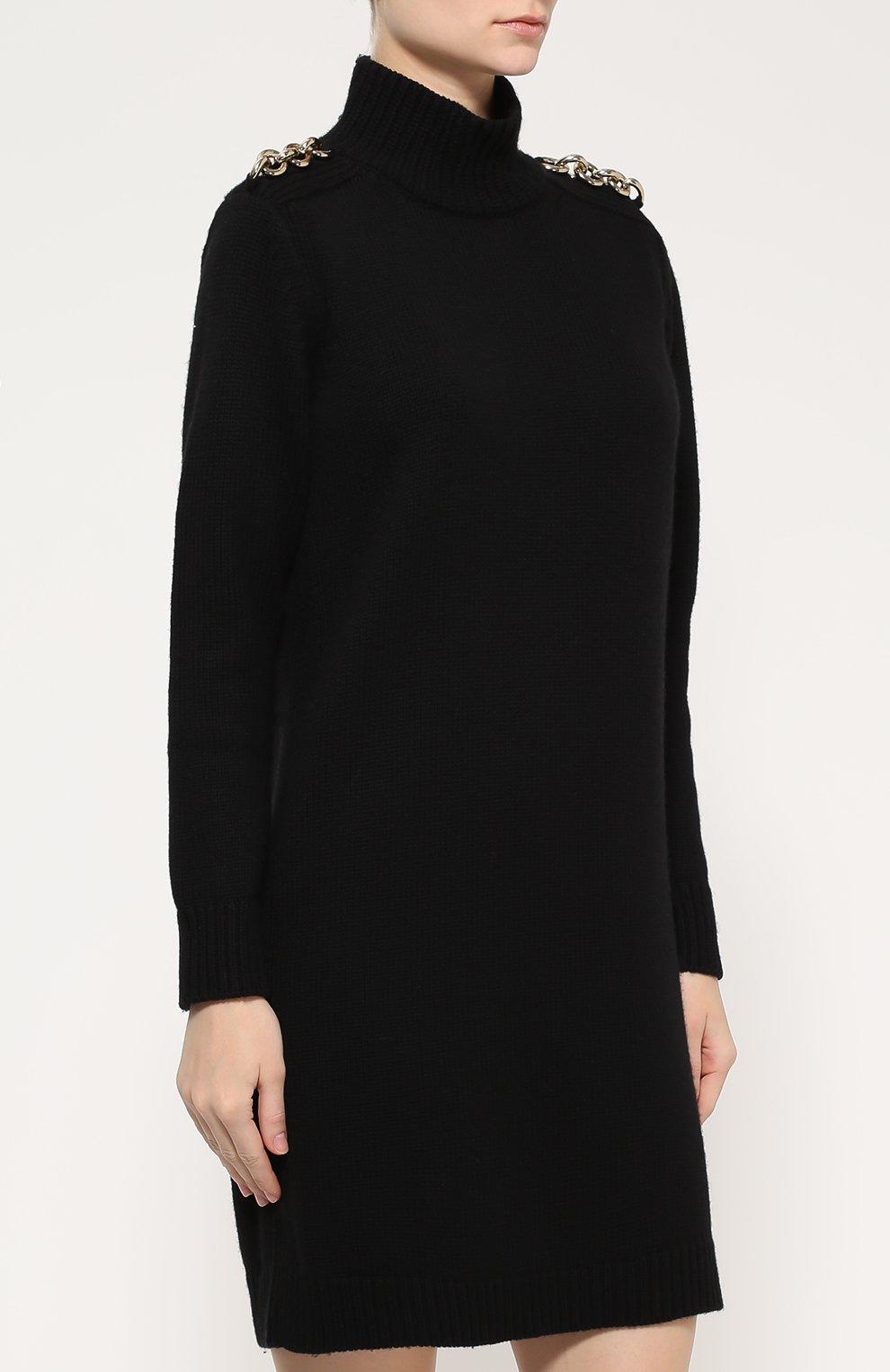 Мини-платье прямого кроя с декоративной отделкой и высоким воротником    Фото №3 5c16b2a1084