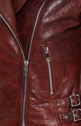 Укороченная кожаная куртка с косой молнией | Фото №5