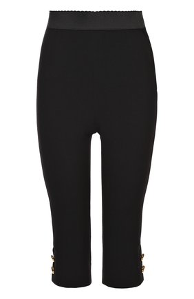 Укороченные леггинсы с декоративными пуговицами Dolce & Gabbana черные | Фото №1