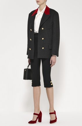 Укороченные леггинсы с декоративными пуговицами Dolce & Gabbana черные | Фото №2