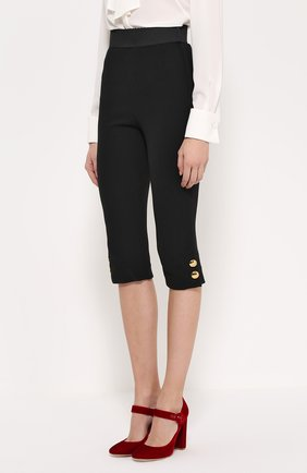 Укороченные леггинсы с декоративными пуговицами Dolce & Gabbana черные | Фото №3