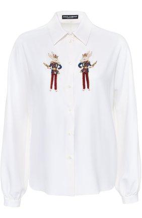 Шелковая блуза прямого кроя с контрастной вышивкой   Фото №1