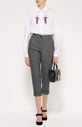 Шелковая блуза прямого кроя с контрастной вышивкой   Фото №2