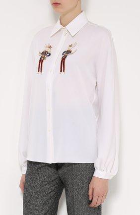 Шелковая блуза прямого кроя с контрастной вышивкой   Фото №3