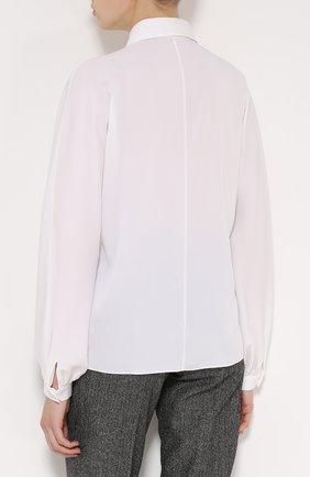 Шелковая блуза прямого кроя с контрастной вышивкой   Фото №4