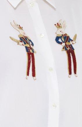 Шелковая блуза прямого кроя с контрастной вышивкой   Фото №5