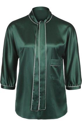 Шелковая блуза с контрастной отделкой и воротником аскот   Фото №1