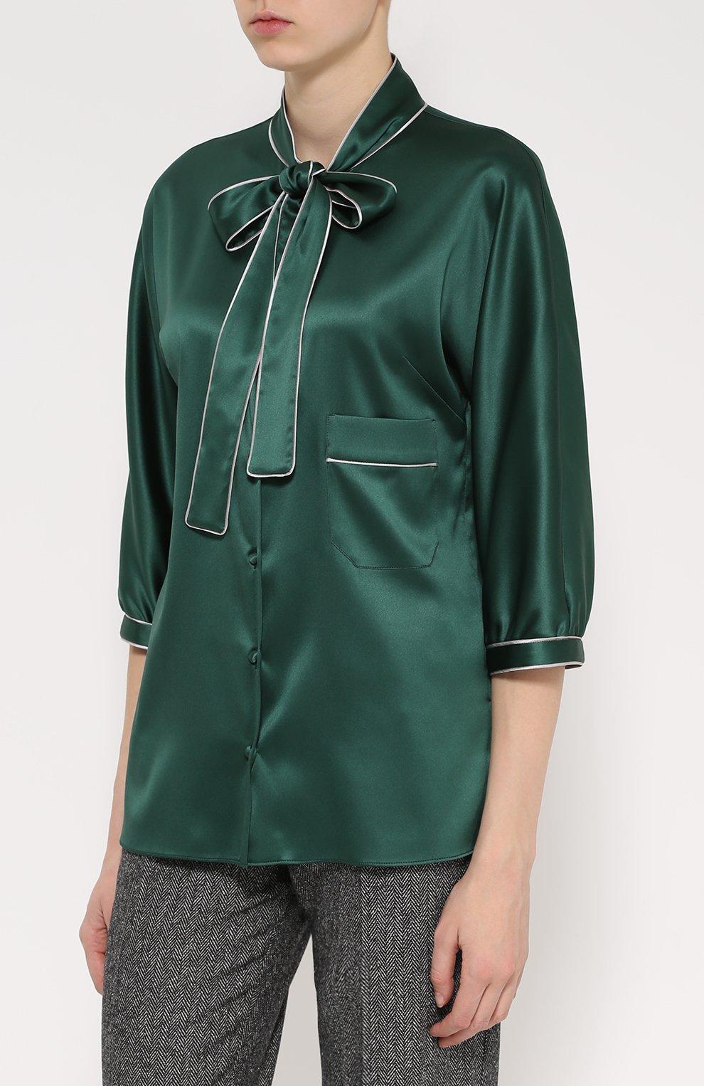 Шелковая блуза с контрастной отделкой и воротником аскот   Фото №3