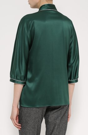 Шелковая блуза с контрастной отделкой и воротником аскот   Фото №4