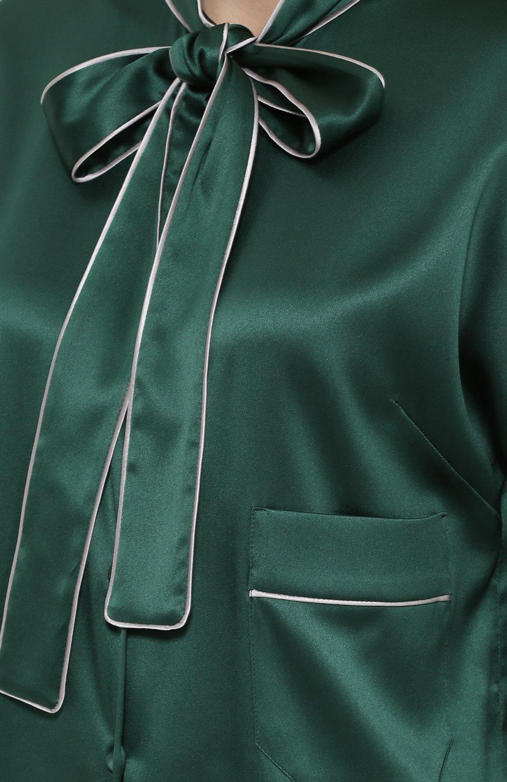 Шелковая блуза с контрастной отделкой и воротником аскот   Фото №5