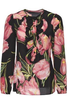 Шелковая блуза прямого кроя с цветочным принтом | Фото №1