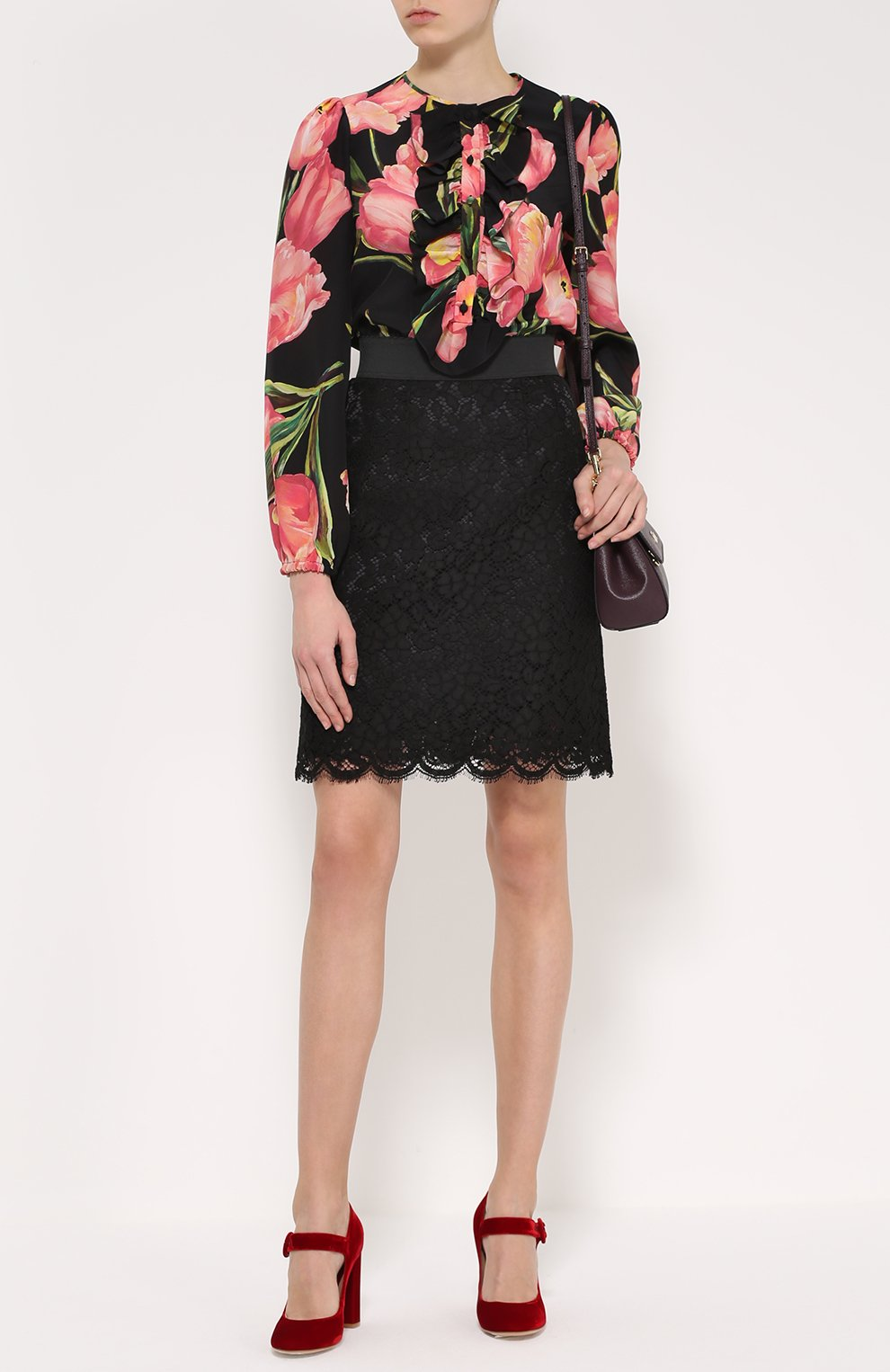Шелковая блуза прямого кроя с цветочным принтом | Фото №2