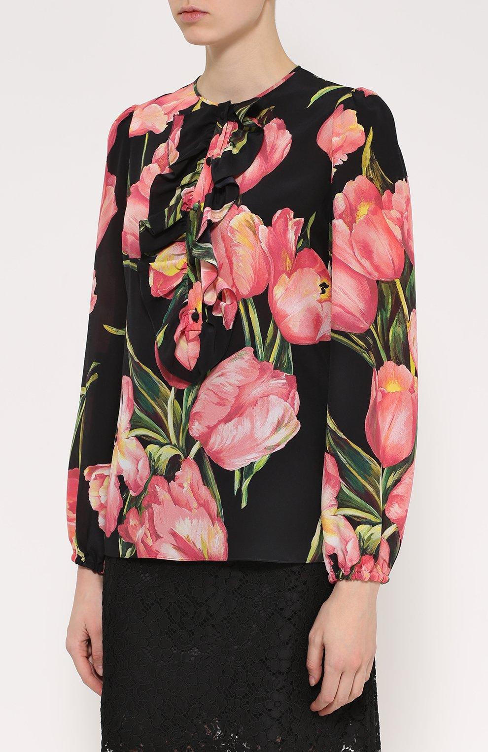 Шелковая блуза прямого кроя с цветочным принтом | Фото №3