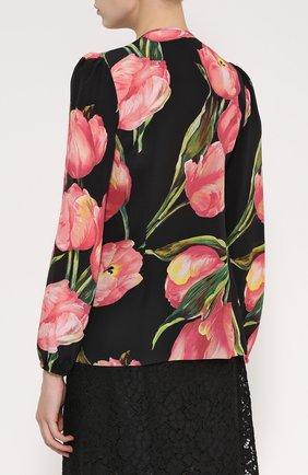 Шелковая блуза прямого кроя с цветочным принтом | Фото №4