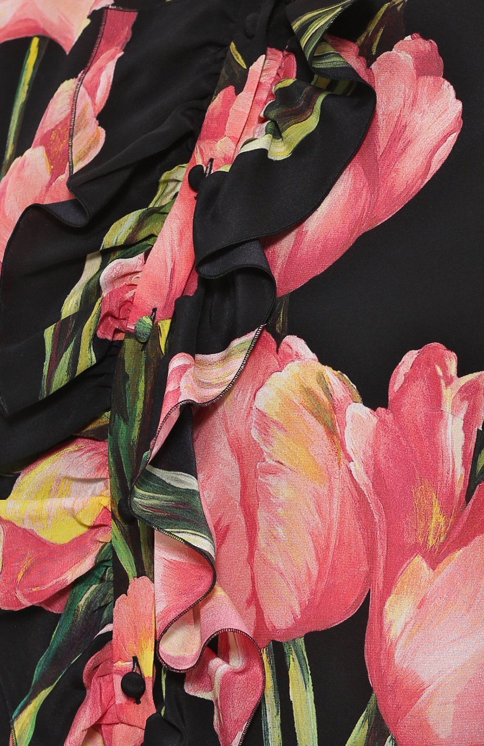Шелковая блуза прямого кроя с цветочным принтом | Фото №5