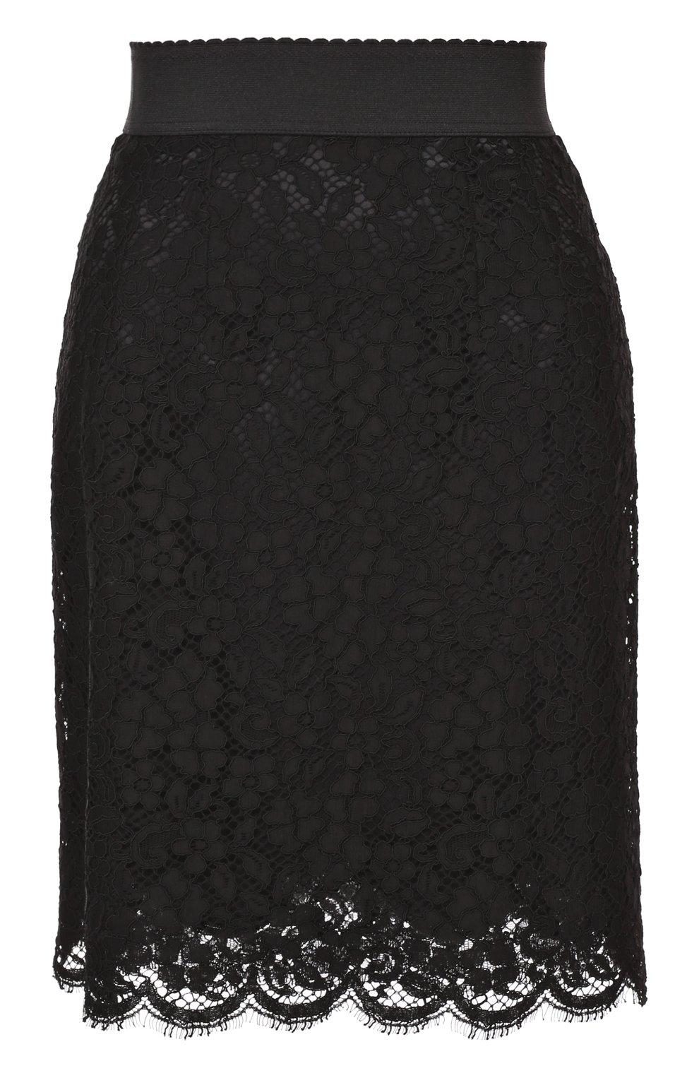 Кружевная мини-юбка с широким поясом | Фото №1
