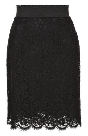 Кружевная мини-юбка с широким поясом Dolce & Gabbana черная | Фото №1
