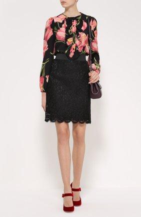 Кружевная мини-юбка с широким поясом Dolce & Gabbana черная | Фото №2