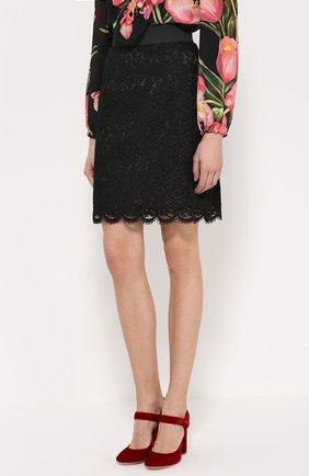 Кружевная мини-юбка с широким поясом Dolce & Gabbana черная | Фото №3