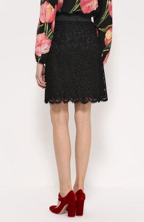 Кружевная мини-юбка с широким поясом Dolce & Gabbana черная | Фото №4