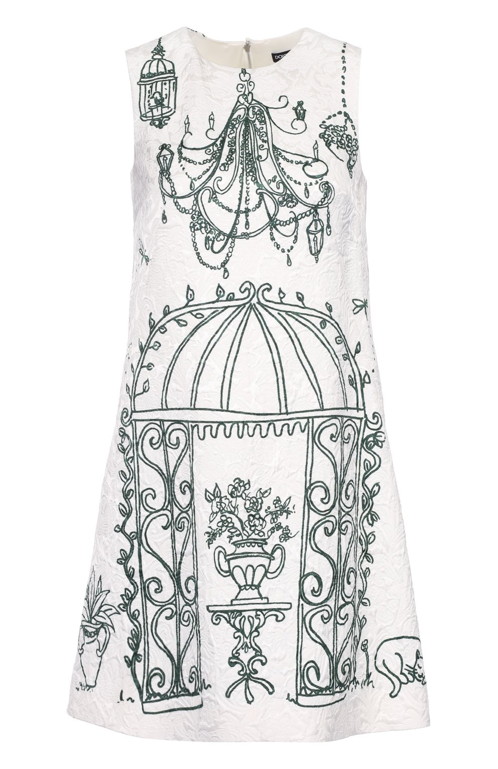 Мини-платье А-силуэта с контрастным принтом | Фото №1