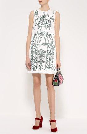 Мини-платье А-силуэта с контрастным принтом | Фото №2